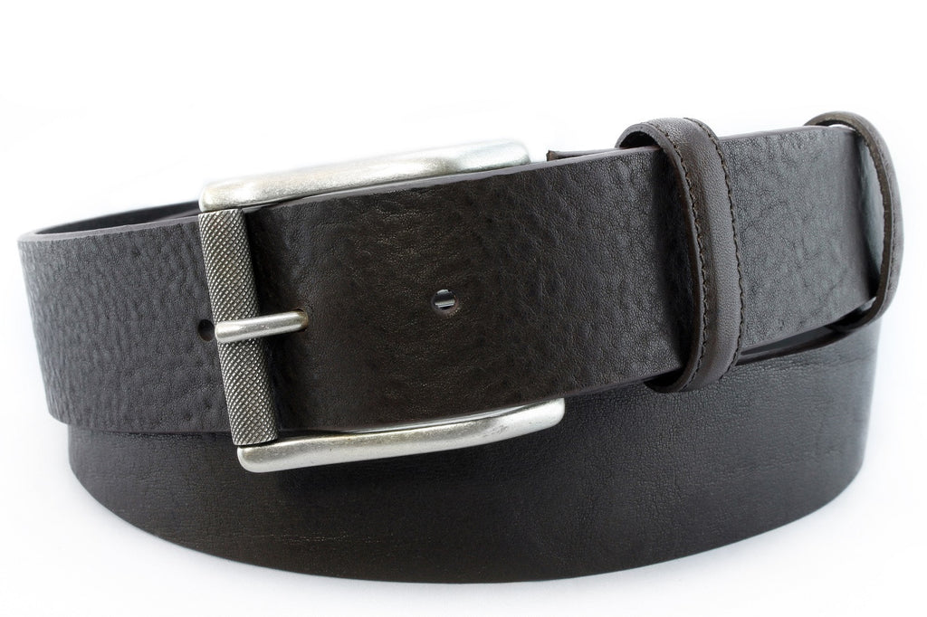 Rich brown tumbled leather belt