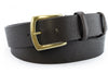 Rich brown tumbled leather belt with gold buckle