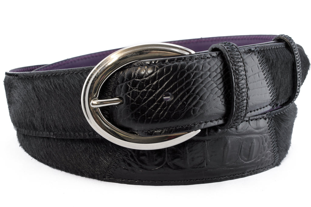 Mock croc & Pony hair belt