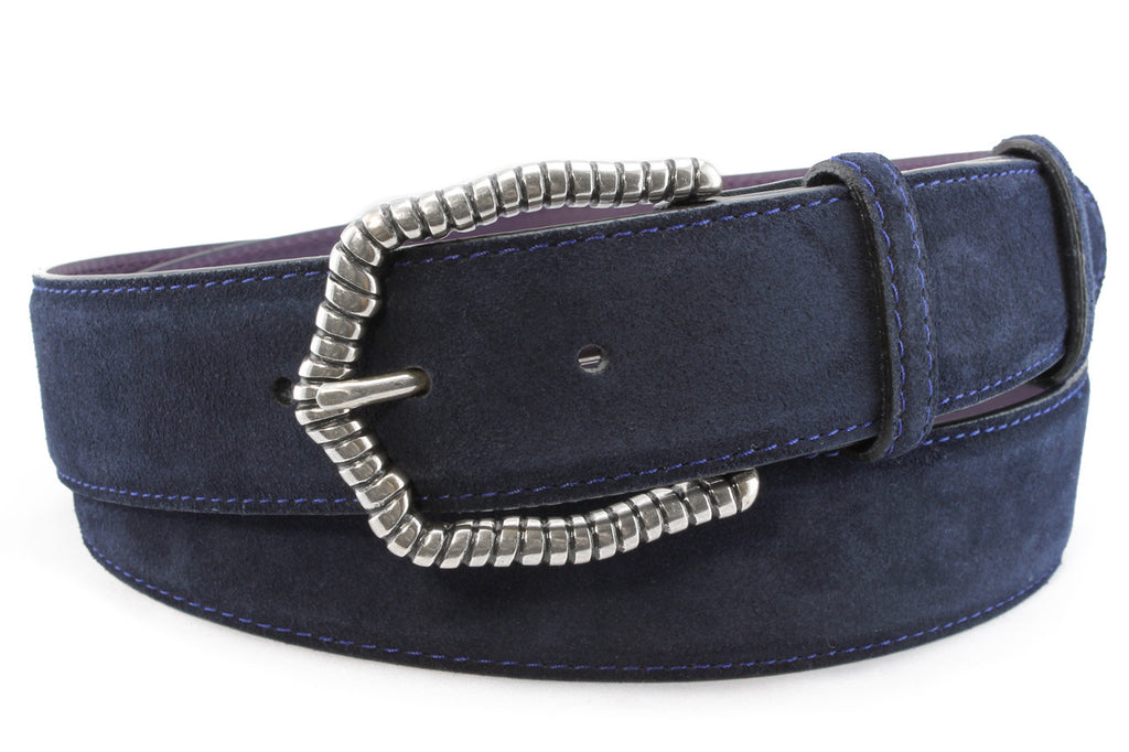 Womens Navy Suede Belt With A Distinctive Ridged Buckle