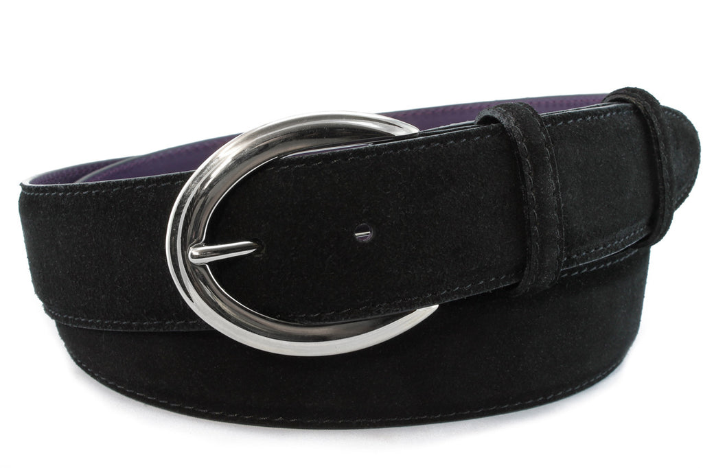 Black suede flattened oval belt
