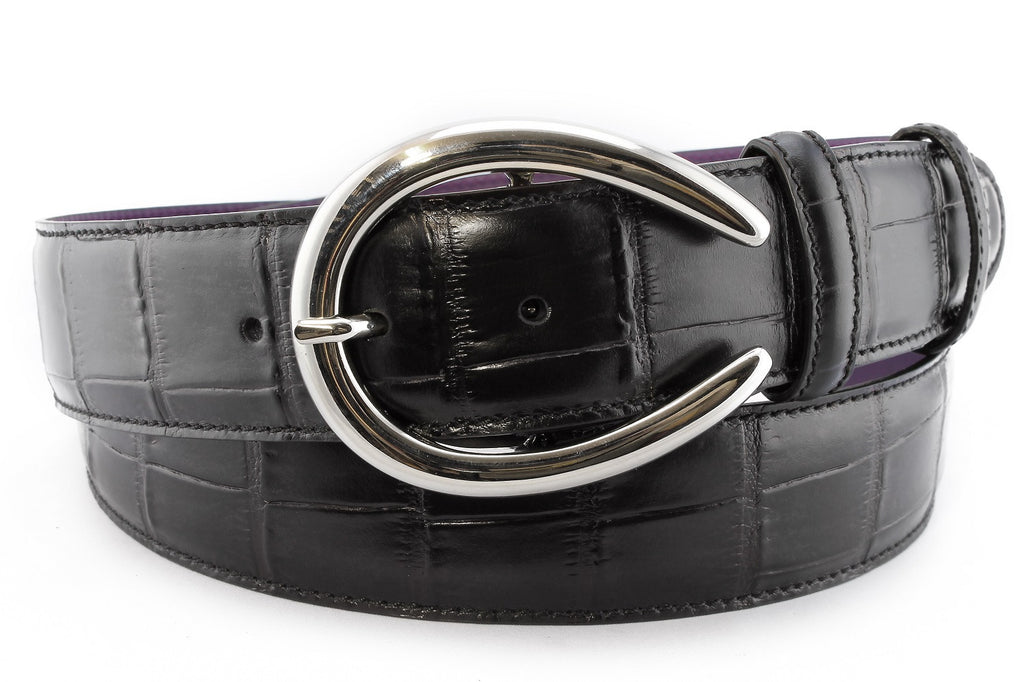 Women's Black Mock Croc Tail Belt With A Horseshoe Prong Buckle