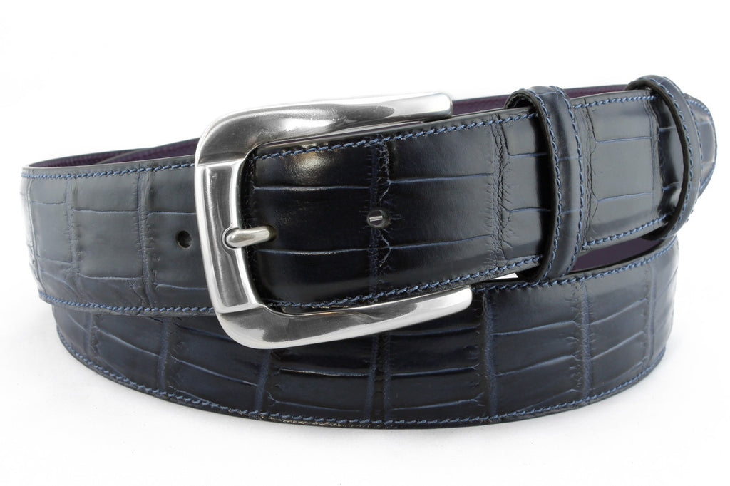 Navy Mock croc tail aged silver belt