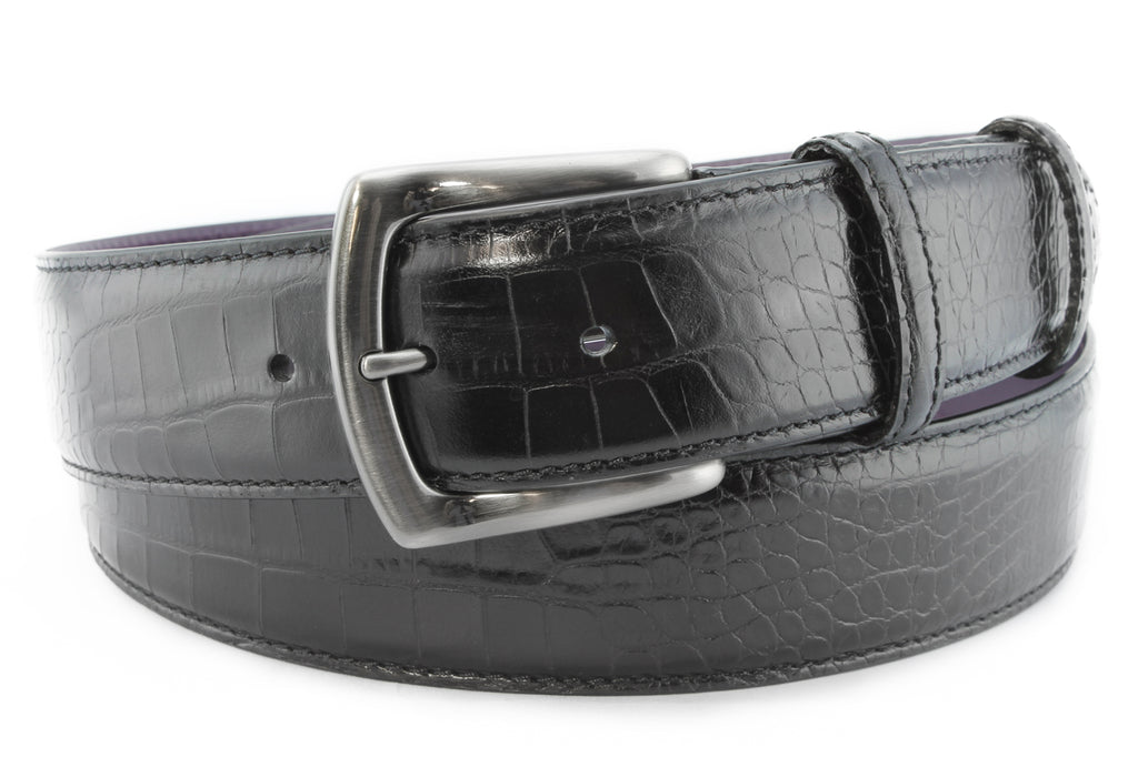 Black Mock Crocodile Gunmetal Belt