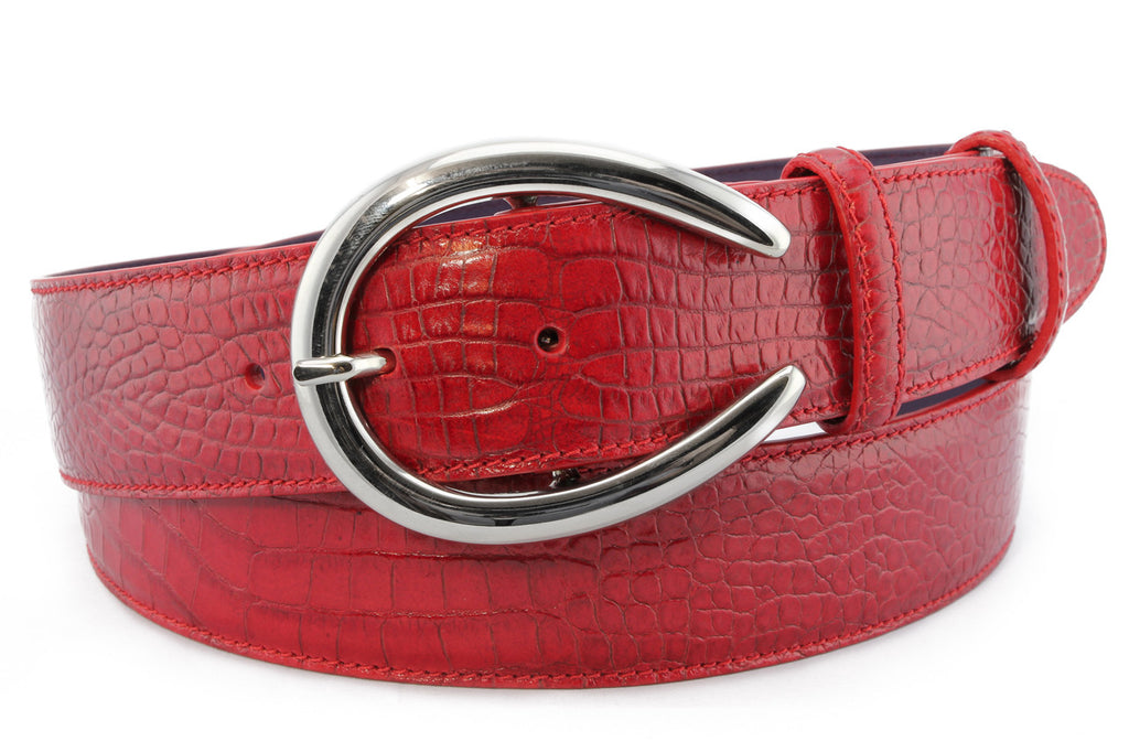 Red mock crocodile horseshoe prong belt