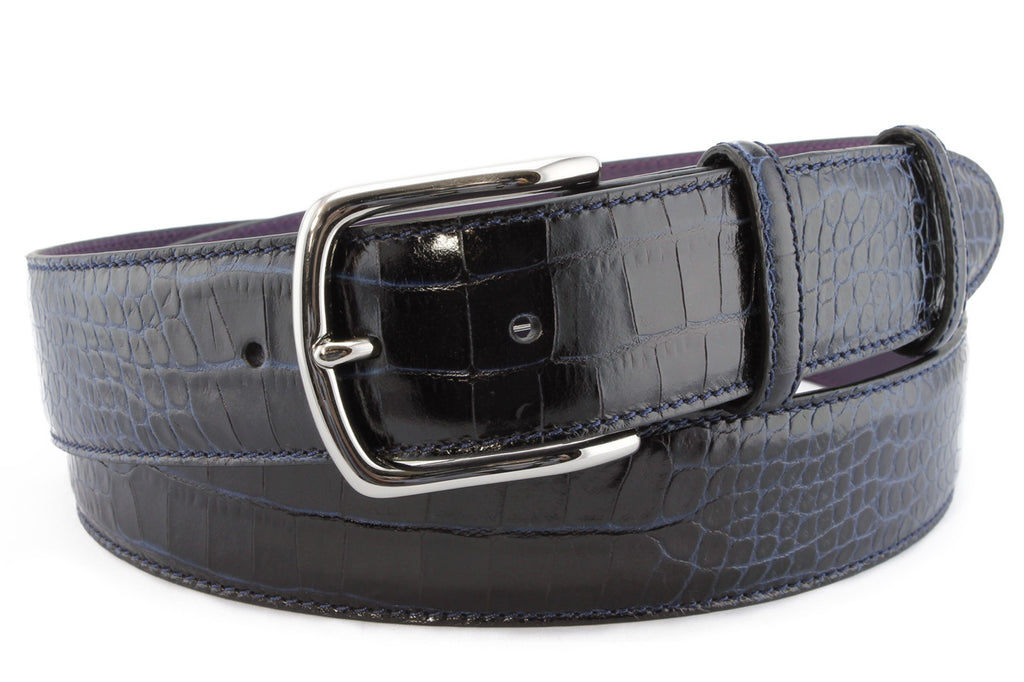 Navy mock crocodile kinked buckle belt