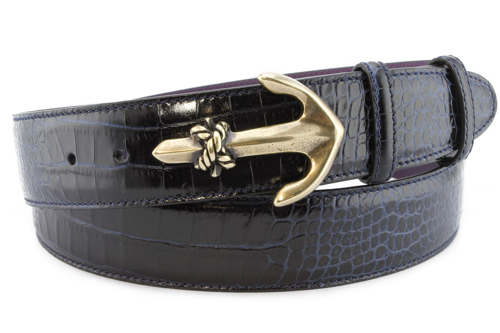 Navy mock crocodile anchor belt