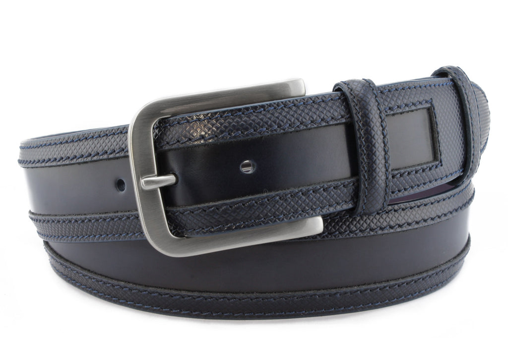 Navy blue wing tip cordovan belt