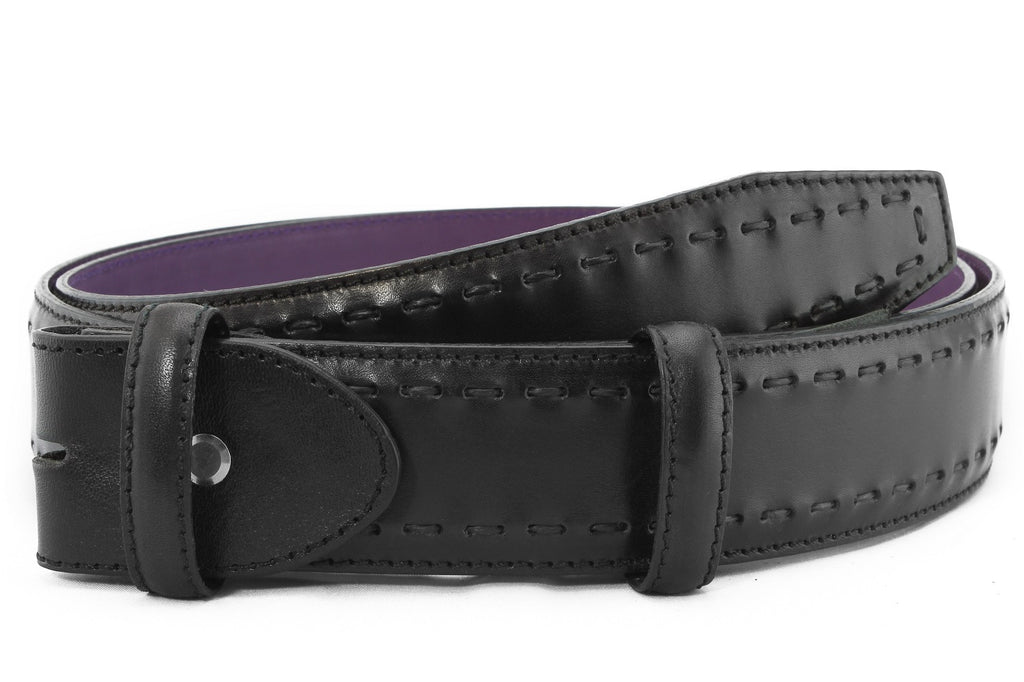 Black handstitched belt strap