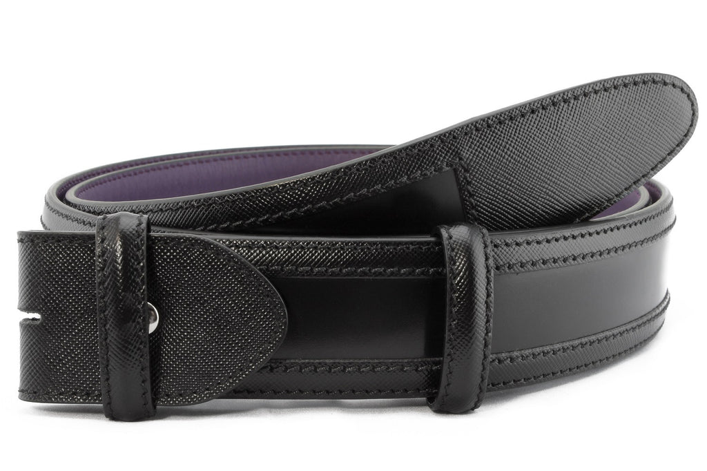 Black wing tip cordovan belt strap