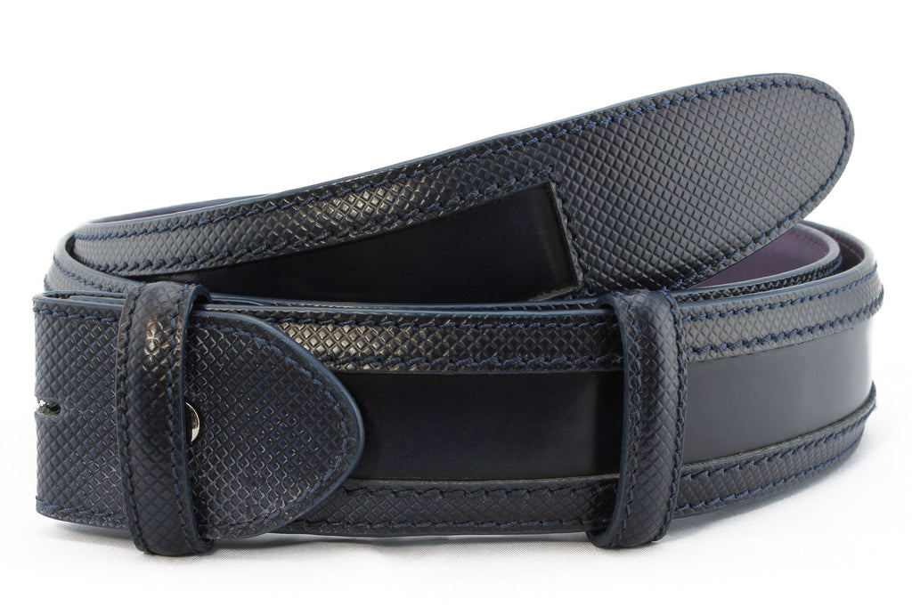 Navy blue wing tip cordovan belt strap