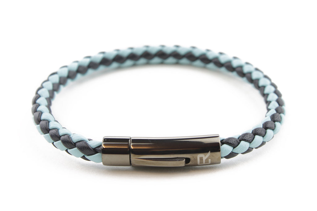 Navy and Pale Blue mix woven leather bracelet