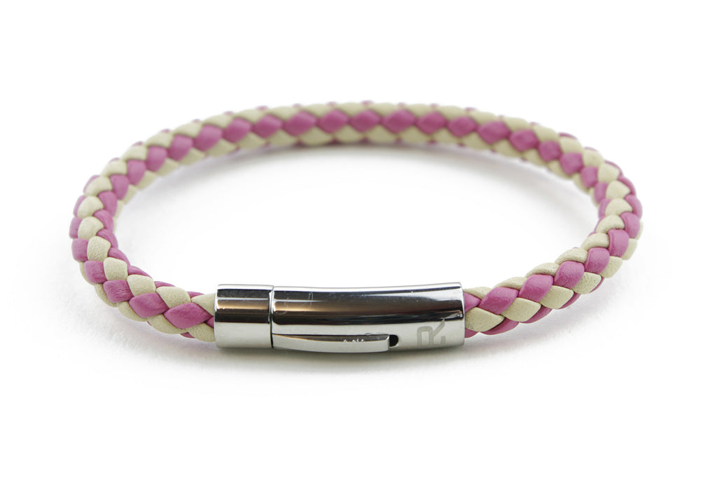 Ivory and Fuchsia mix woven leather bracelet