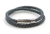 Double wrap Navy Blue woven leather bracelet