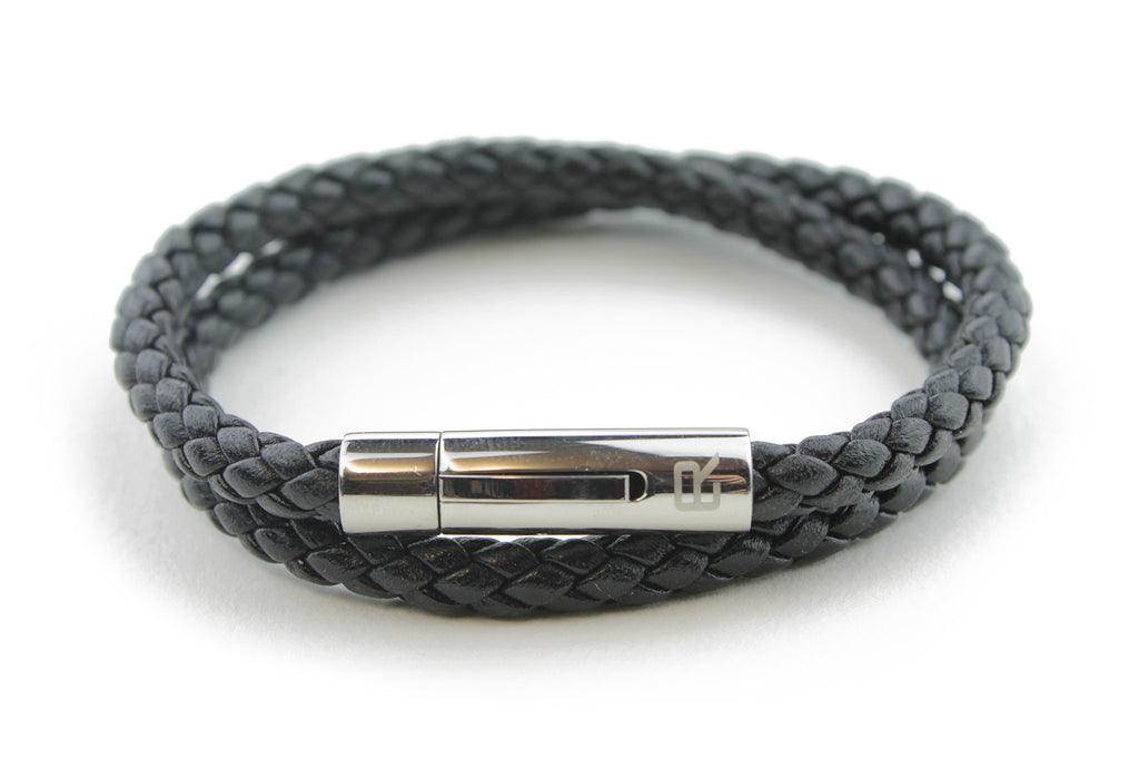 Double wrap Black woven leather bracelet