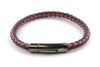 Navy and Red mix woven leather bracelet