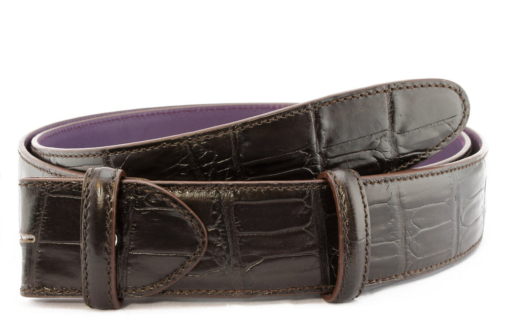 Dark choc Mock croc tail belt strap - Longer Length