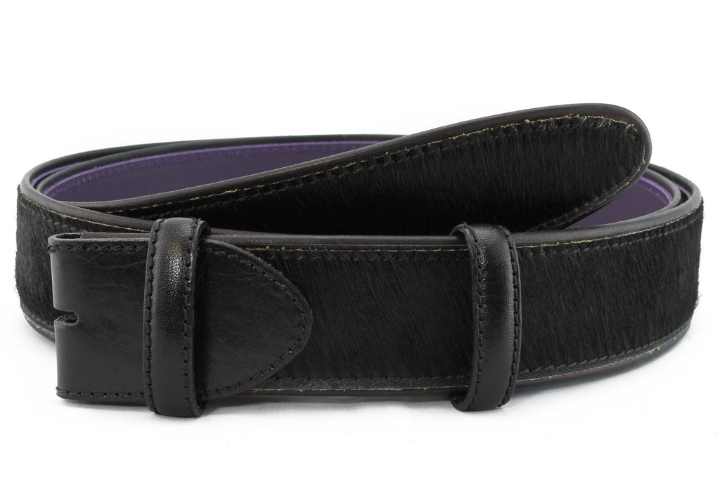 Black pony hair belt strap