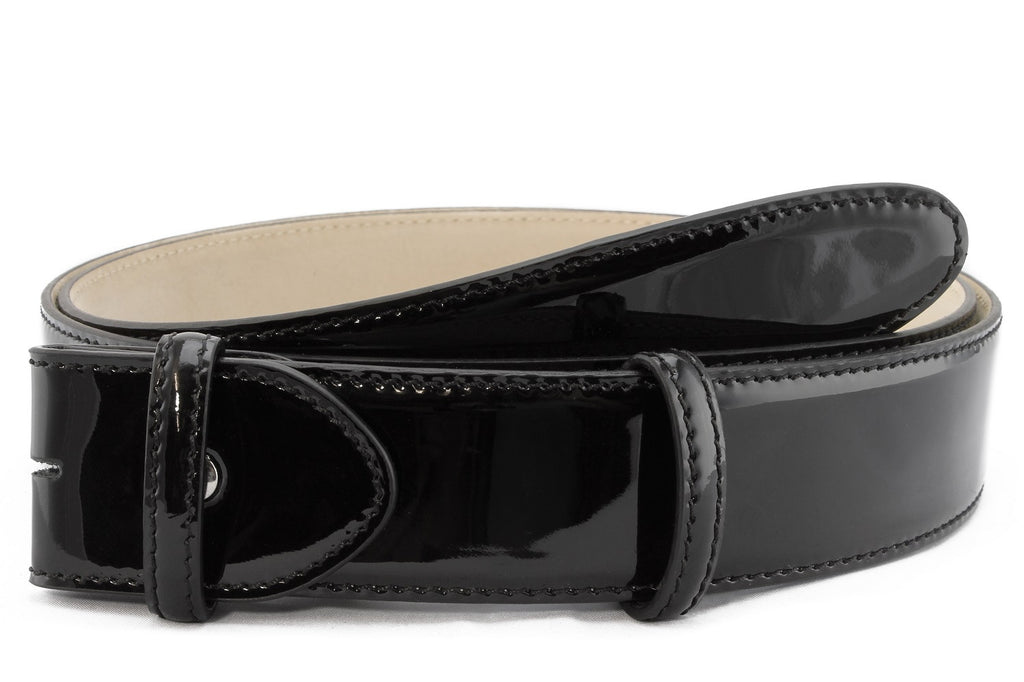 Classic Black patent leather belt strap