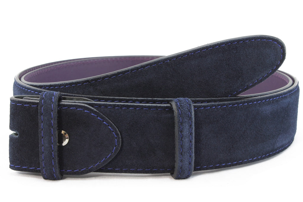 Navy blue classic suede belt strap