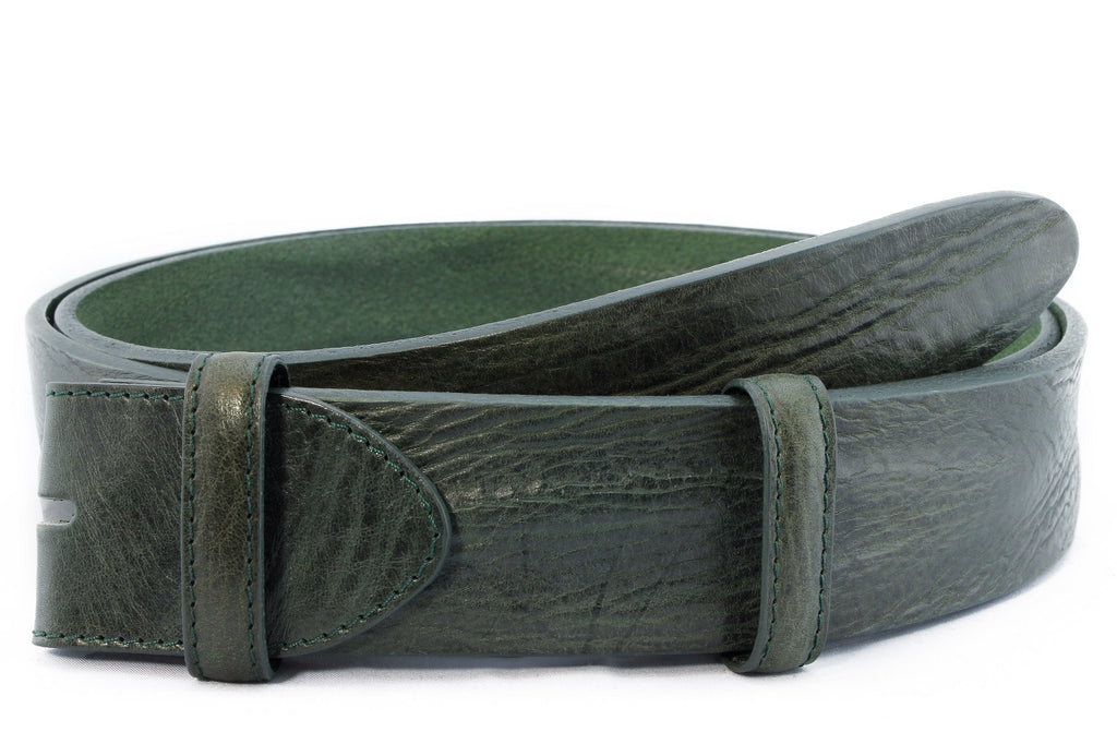 Bottle green vintage feel belt strap