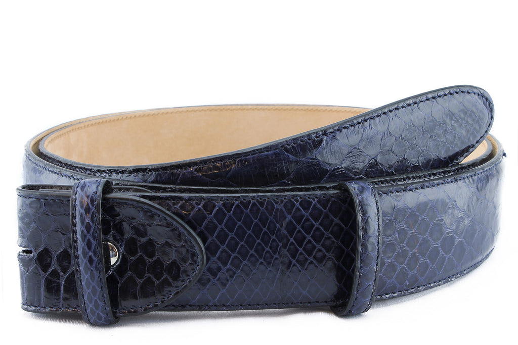 Navy gloss genuine python belt strap