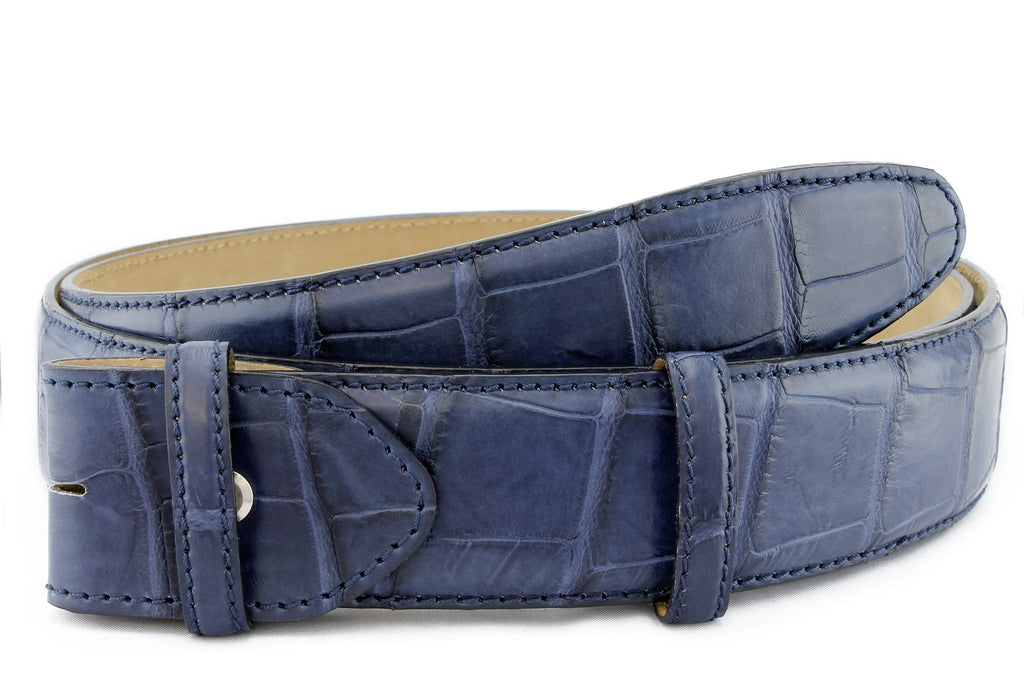 Midnight blue genuine matte alligator tail belt strap