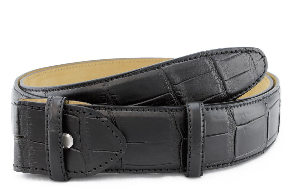 Black genuine matte alligator tail belt strap