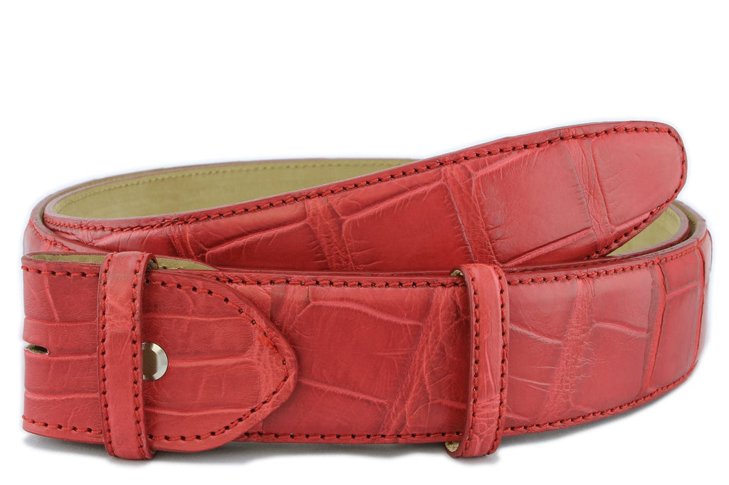 Red genuine matte alligator tail belt strap