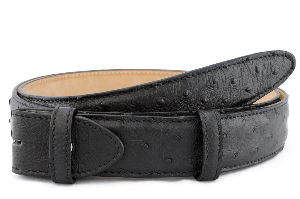Black genuine ostrich quill belt strap