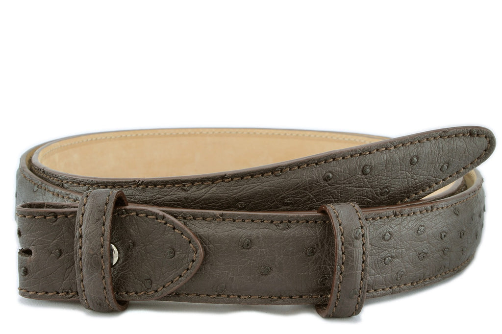 Dark brown narrow genuine ostrich belt strap