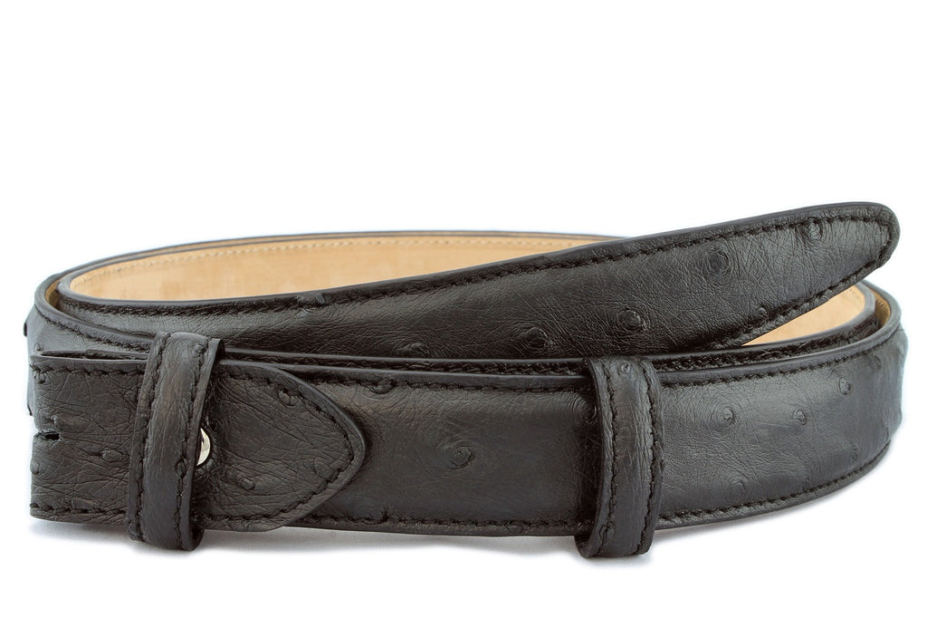 Black narrow genuine ostrich belt strap