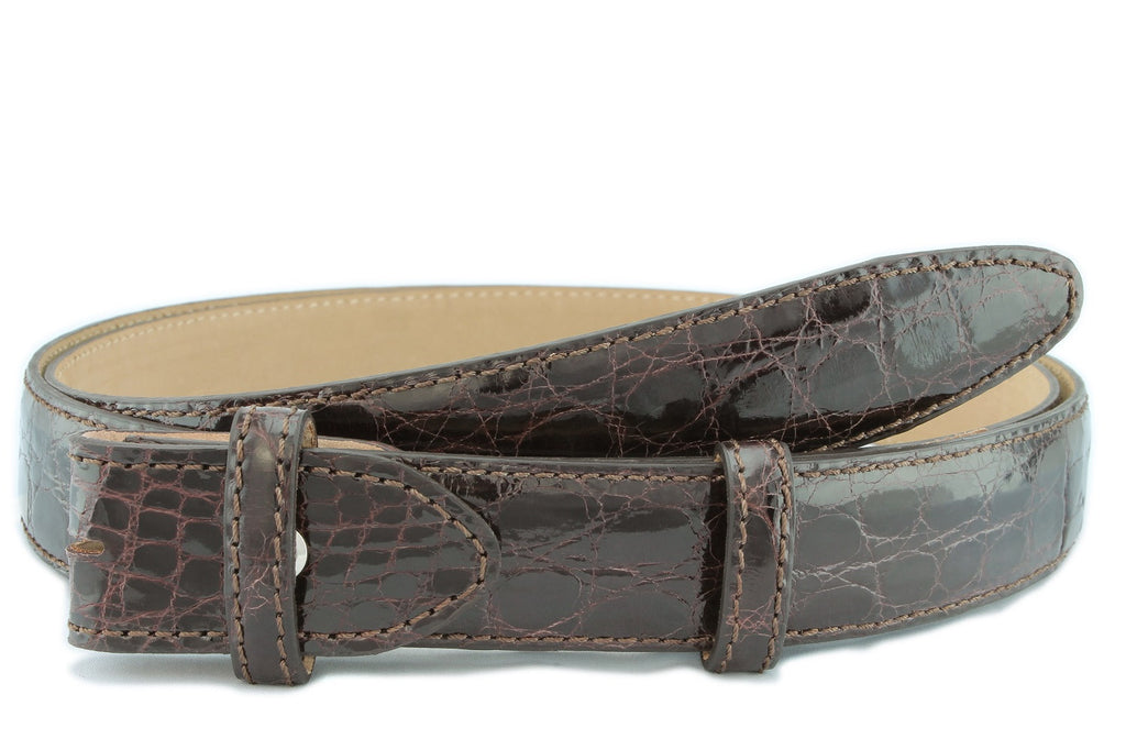 Dark brown genuine crocodile belt strap