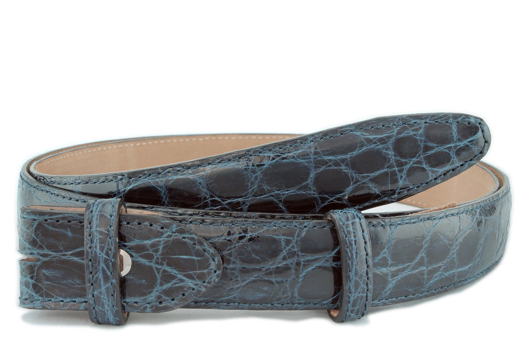 Navy narrow genuine crocodile belt strap