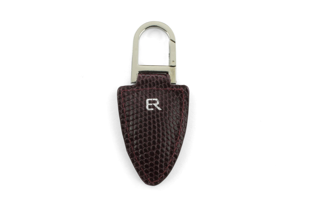 Burgundy mock iguana Shark tooth keychain