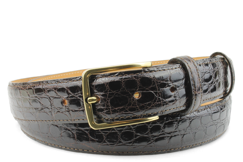 Narrow Dark Brown Genuine Crocodile Flank Belt