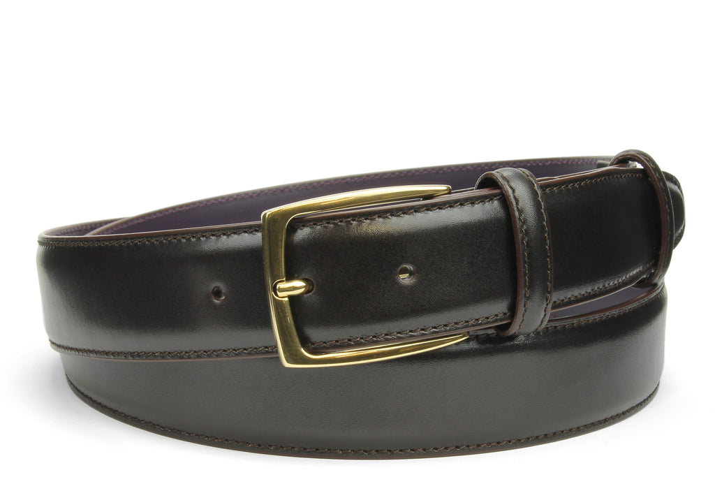 Elegant Dark Brown Box Calf Belt