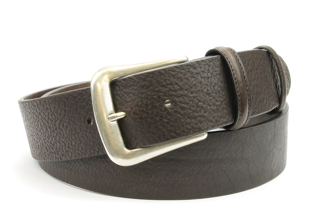 Tumbled Dark Brown Antique Silver Prong Belt