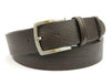 Deep Brown Tumbled Leather Satin Silver Belt