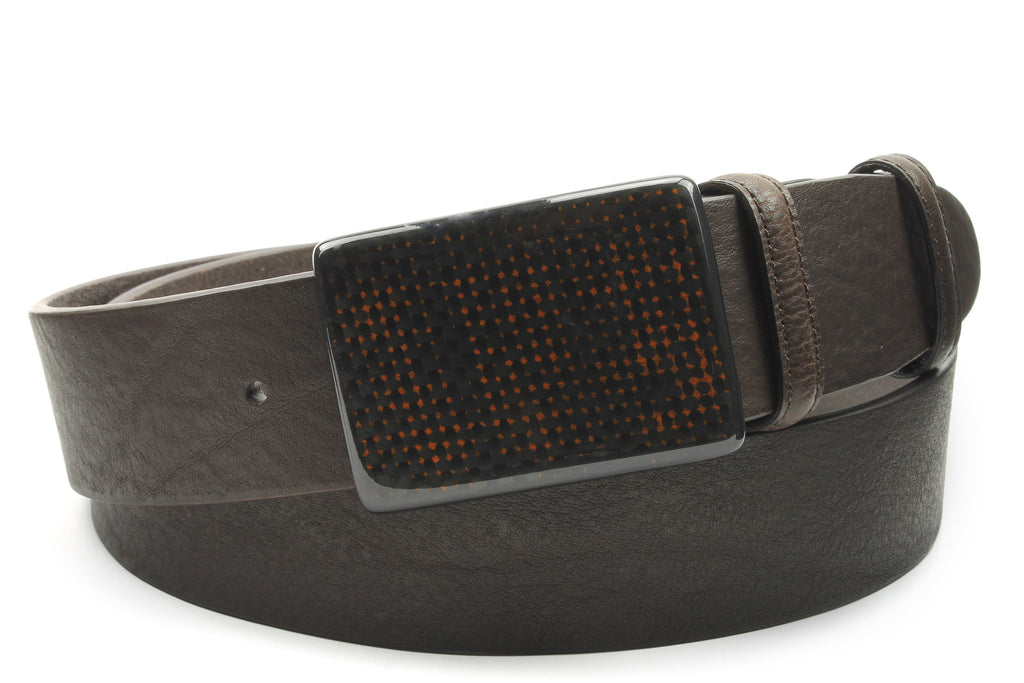 Tumbled Brown Leather Carbon Fibre Plate Belt