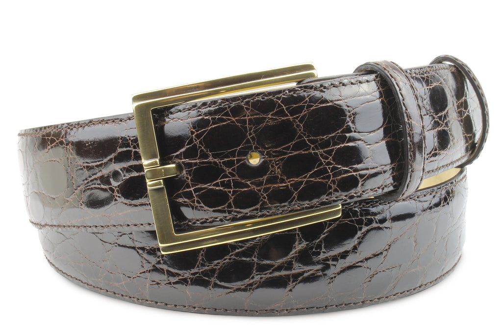 Dark Brown Genuine Crocodile Flank Classic Belt