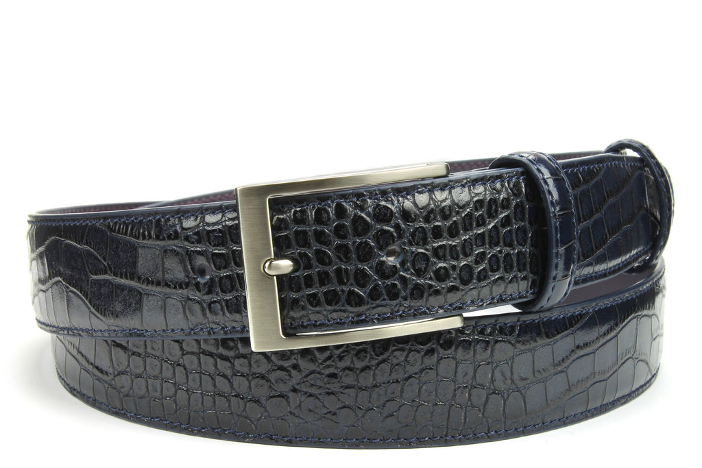 Dark Blue Mock Croc Classic Belt