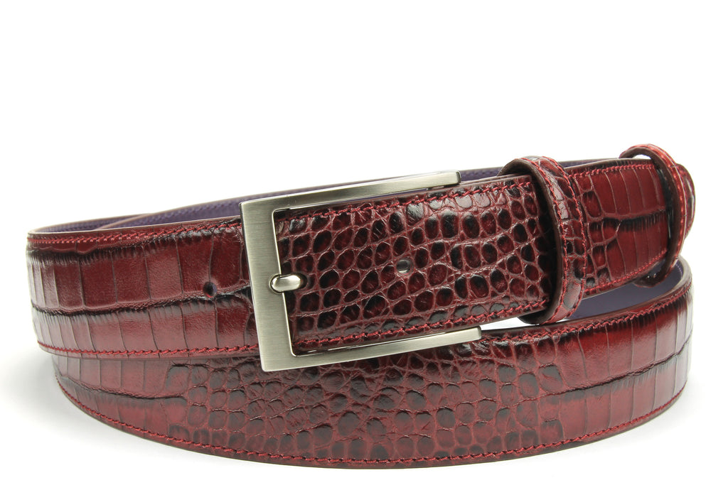 Rich Burgundy Classic Mock Croc Belt