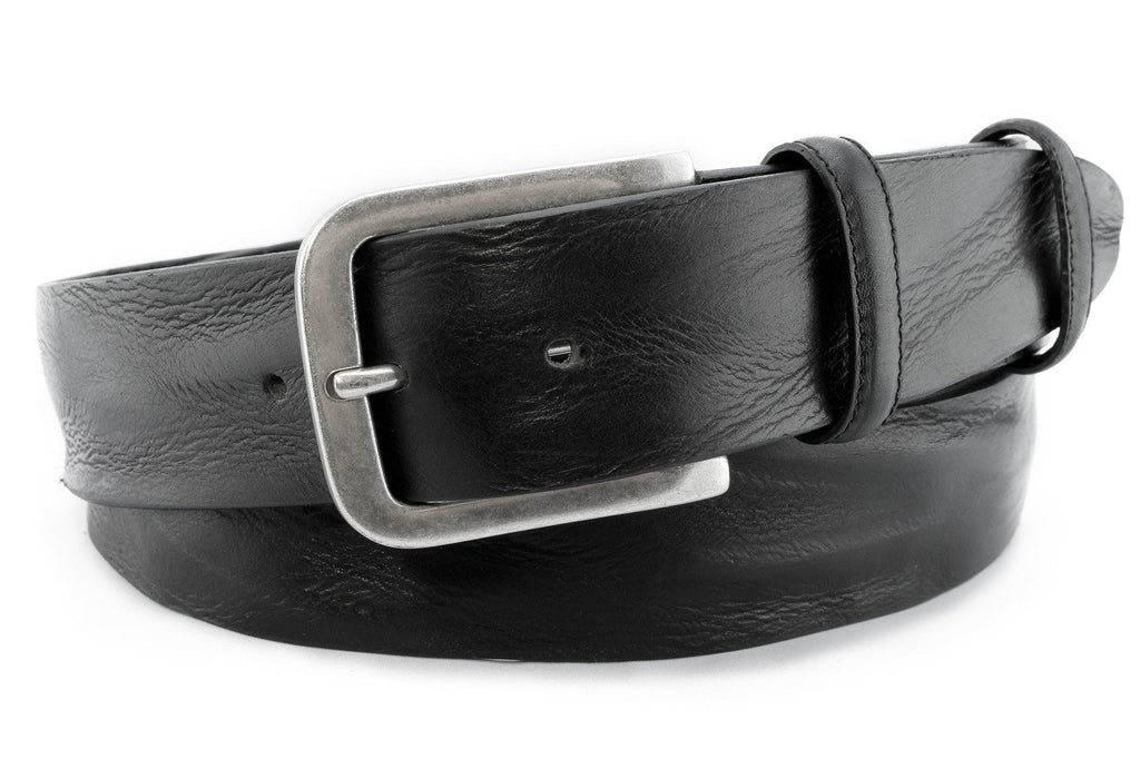 Black vintage feel men's belt with aged silver buckle