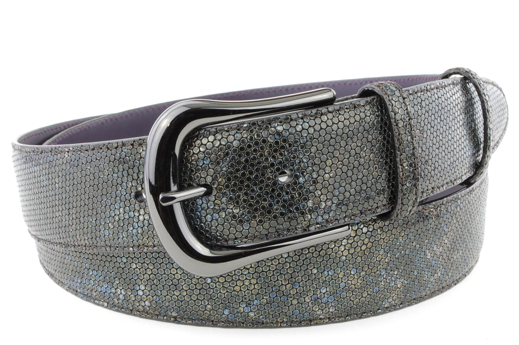 Mottled Turq Metallic Honeycomb Gunmetal Belt