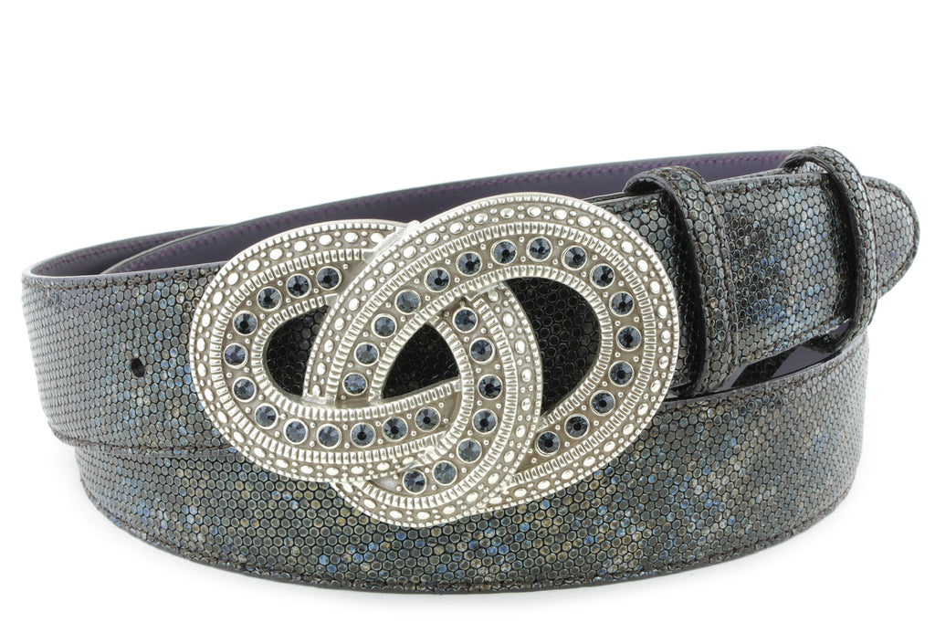 Mottled Turq Metallic Honeycomb Crystal Belt