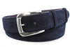 Navy blue classic suede silver buckle belt