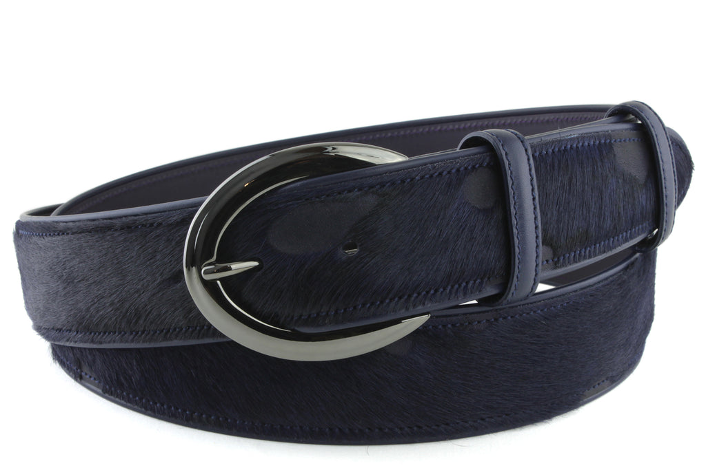 Dark Navy Burn Out Pony Hair Gunmetal Belt