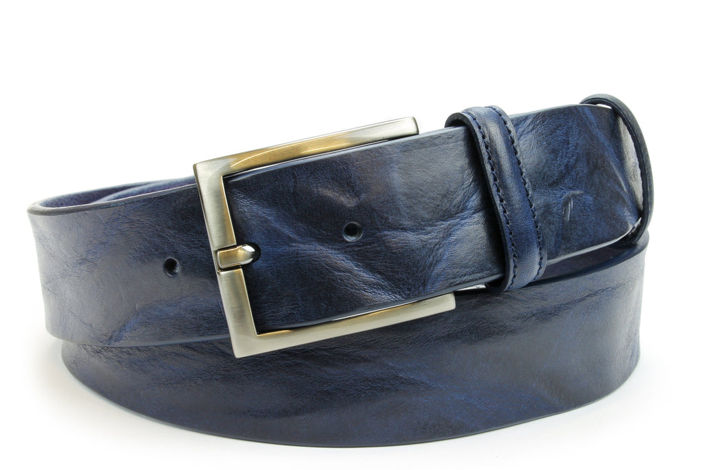 Classic Navy Blue Tumbled Leather Satin Buckle Belt