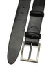 Smooth Black Sleek Satin Gunmetal Prong Belt